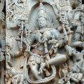 A sculpture of an eight-armed dancing Mohini at the Hoysaleswara Temple in Halebidu: Karnataka State, South India