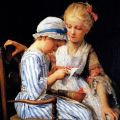 Albert Samuel Anker - Embroiderers Stitching