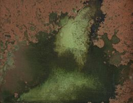 Andy Warhol - Oxidation, 1979. Copper metallic pigment and urine on canvas, 8 x 10 in. (20 x 26 cm). Hall Collection