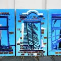 """""""Broken City"""" triptych, in front of my house, oil and acrylic on canvas, each image is 150 x 100cm by Dora Bratelj"""