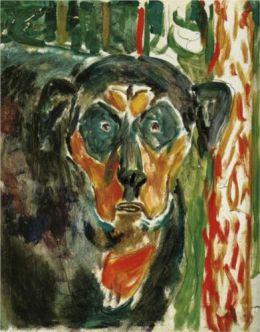 Edvard Munch:  Head of a Dog, 1930