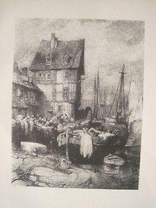 "Eugene Isabey ""Environs de Dieppe"" Lithograph"