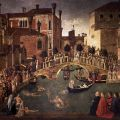 Gentile Bellini; Miracle of the Cross at the Bridge of San Lorenzo, 1500. Tempera on canvas.
