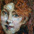 Interpretation of Giovanni Boldini's 'La Treccia Bionda' in mosaic