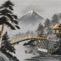PHOTO of my embrodery-FUJI SAN- made of pure silk from Japan..bought in 1964,its s  e of a machine..handwork golden threads on the bridge.house and the tree...