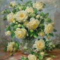 Princess Diana Roses In A Cut Glass Vase Painting by Albert Williams - Princess Diana Roses In A Cut Glass Vase Fine Art Prints and Posters for Sale