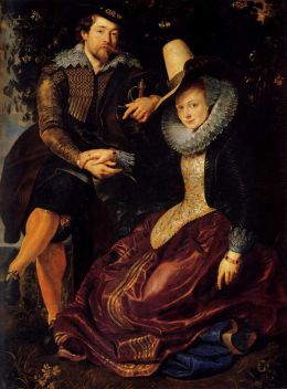 Self portrait with isabella brant (1609)