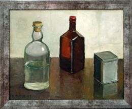 Still Life with Two Bottles and Can