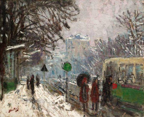 The Athenaeum - Bineau Boulevard under the Snow (Pierre-Eugène Montézin - )